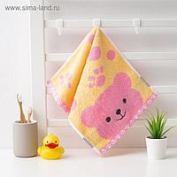 """Полотенце махровое Крошка Я """"Дружок"""" 25*50 см, цв.розовый, 100% хлопок, 400 гр/м2"""