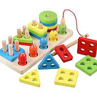 Деревянная игрушка 2в1 геометрическая пирамида логика 4 фигуры плюс рыбалка