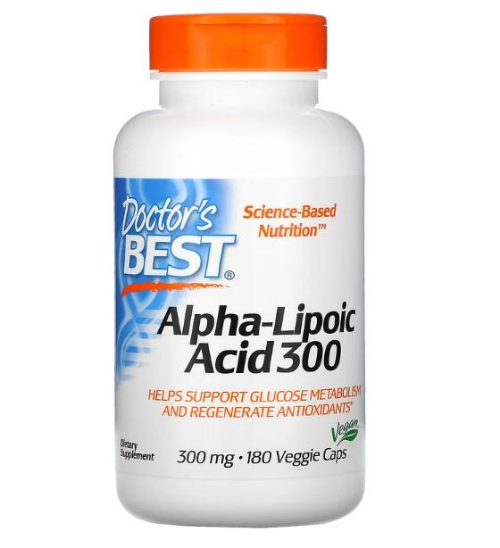 Doctor's Best, альфа-липоевая кислота, 300 мг, 180 вегетарианских капсул