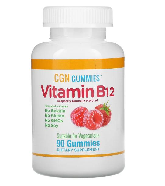 California Gold Nutrition, витамин B12, со вкусом малины, 90 жевательных мармеладок