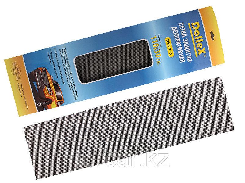 Облицовка радиатора (сетка декоративная) алюминий, черная 110 х 30 см, ячейки 10мм х 5мм