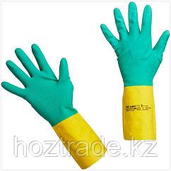 """Перчатки резиновые Vileda Professional """"Усиленные"""" с неопреном, р.L, зеленый/желтый, пакет"""
