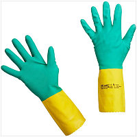 """Перчатки резиновые Vileda Professional """"Усиленные"""" с неопреном, р.XL, зеленый/желтый, пакет"""
