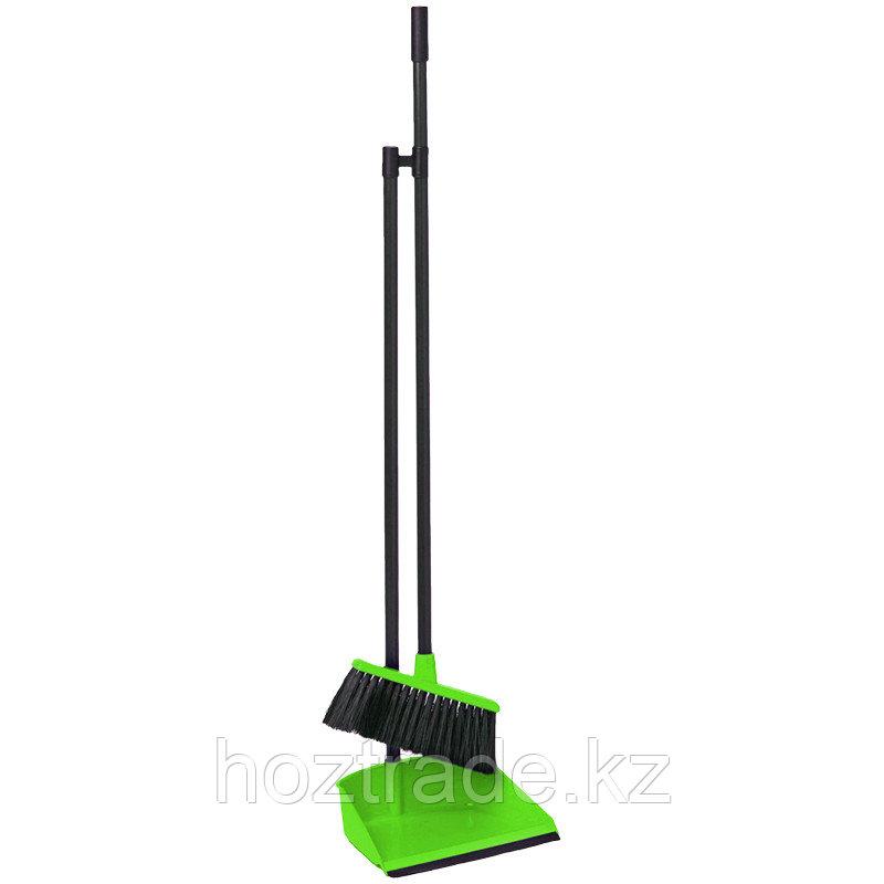 """Совок для мусора Idea """"Ленивка"""" с щеткой-сметкой, ручка 80см, пластик, зеленый"""