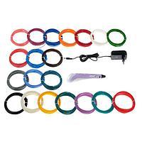 УЦЕНКА Комплект 3Д ручка NIT-Pen2 фиолетовая + пластик ABS 20 цветов по 10 метров
