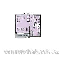 "1 комнатная квартира ЖК ""Аскер"" 37.54 м2"