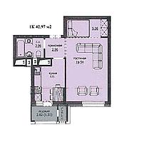 "1 комнатная квартира ЖК ""Аскер"" 42.97 м2"