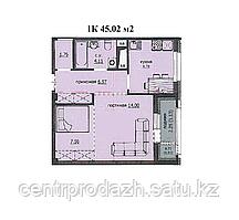 "1 комнатная квартира ЖК ""Аскер"" 45.02 м2"