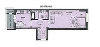 "1 комнатная квартира ЖК ""Аскер"" 47.03 м2"