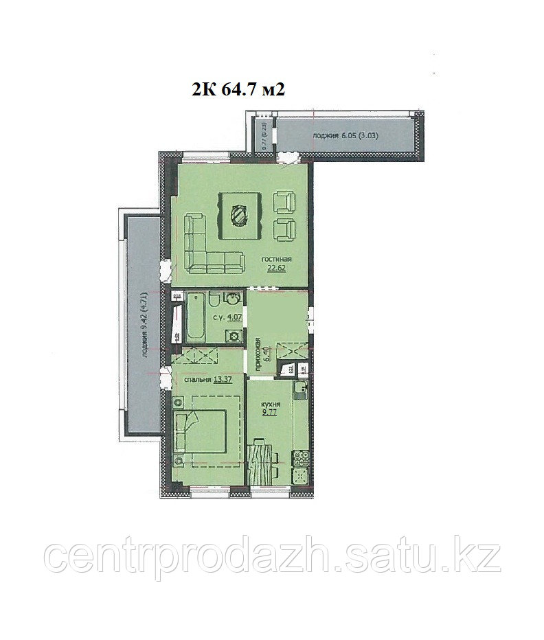 "2 комнатная квартира ЖК ""Аскер"" 64.7 м2"