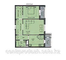 "2 комнатная квартира ЖК ""Аскер"" 67.53 м2"