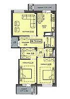 "3 комнатная квартира ЖК ""Аскер"" 71.24 м2"