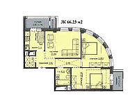 """3 комнатная квартира ЖК """"Аскер"""" 66.23 м2, фото 1"""