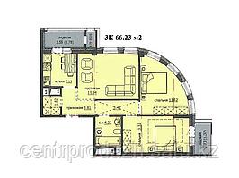 "3 комнатная квартира ЖК ""Аскер"" 66.23 м2"