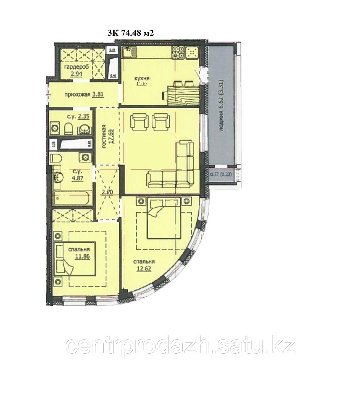 "3 комнатная квартира ЖК ""Аскер"" 74.48 м2"