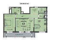 """2 комнатная квартира ЖК """"Аскер"""" 80.62 м2, фото 1"""