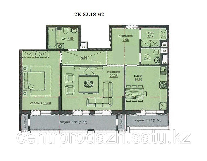 "2 комнатная квартира ""ЖК Аскер"" 82.18 м2"