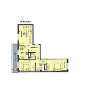 """3 комнатная квартира ЖК """"Аскер"""" 83.44 м2, фото 1"""