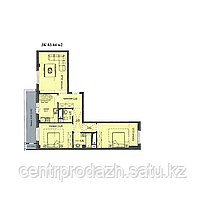 "3 комнатная квартира ЖК ""Аскер"" 83.44 м2"