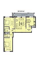 "3 комнатная квартира ЖК ""Аскер"" 91.92 м2"