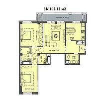 """3 комнатная квартира ЖК """"Аскер"""" 102.12 м2, фото 1"""