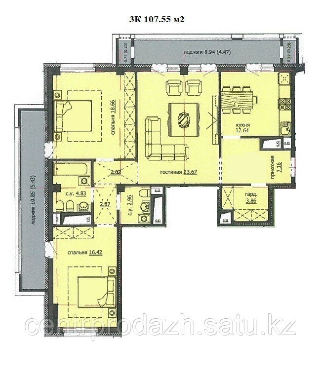 "3 комнатная квартира ЖК ""Аскер"" 107.55 м2"