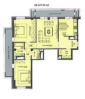 """3 комнатная квартира ЖК """"Аскер"""" 107.55 м2, фото 1"""