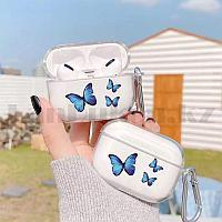 Чехол для беспроводных наушников с карабином и рисунком бабочки прозрачный