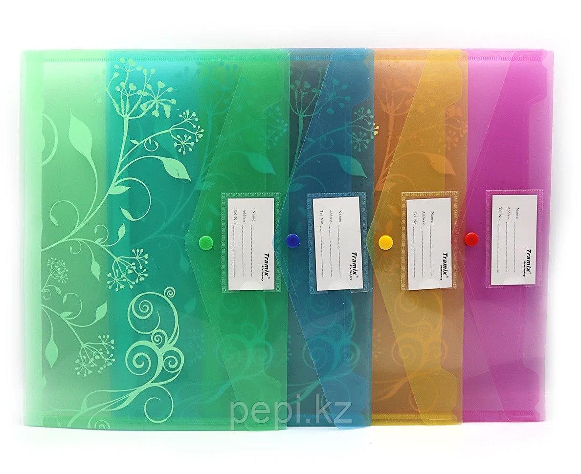 Папка пластиковая на кнопке A4 Tramix, с кармашком для визитки