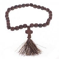 Четки с крестом из коричневого обсидиана 30 бусин цилиндр
