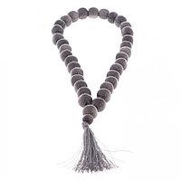 Четки из серого обсидиана 33 бусины круглые