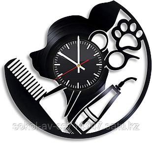 Настенные часы Груминг Grooming стрижка собак, котов, животных, подарок фанатам, любителям, 2930