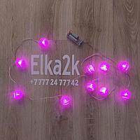 """Гирлянда на батарейках """"Ротанговые шарики"""" , 2 метра, розовый цвет, светит постоянно"""