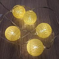 """Гирлянда на батарейках """"Ротанговые шарики"""" , 2 метра, жёлтый цвет, светит постоянно"""
