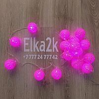 """Световая гирлянда """"Ротанговые шарики"""" 3 метра, 16 шариков, розовый свет, светит постоянно"""
