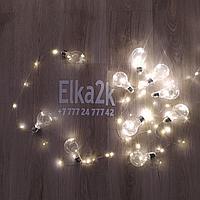 """Гирлянда """"Ретро лампочки"""" 5 метров, 10 лампочек, тёплый-белый свет, светит постоянно"""