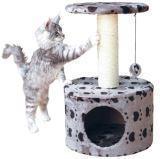 """Trixie 61 см, серый Когтеточка домик для кошки Toledo с рисунком """"Кошачьи лапки"""""""