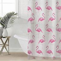 Штора для ванной комнаты SAVANNA «Фламинго», с люверсами, 180×180 см, PEVA