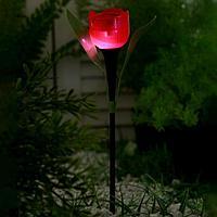 """Фонарь садовый на солнечной батарее """"Тюльпан красный"""" 30.5 см, d-5 см, 1 led, пластик"""