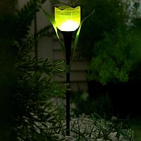 """Фонарь садовый на солнечной батарее """"Тюльпан желтый"""" 30.5 см, d-5 см, 1 led, пластик"""
