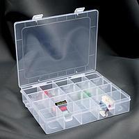 Органайзер для рукоделия, со съёмными ячейками, 20 отделений, 22,5 x 18 x 4 см, цвет прозрачный
