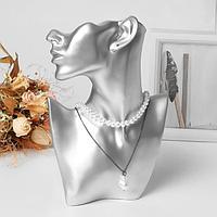 Бюст для украшений, пол-лица, отверстие под серьгу, 18*5*26, цвет серебро