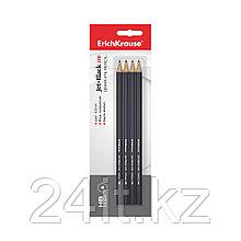 Блистер чернографитных шестигранных карандашей ErichKrause® Jet Black 100 HB (4 карандаша)