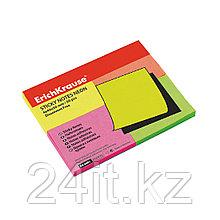 Бумага для заметок с клеевым краем ErichKrause® Neon, 40х50 мм, 200 листов, в пленке 10 шт., 4 цвета