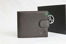 Мужское портмоне из натуральной кожи HT коричневое
