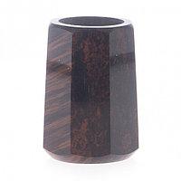 Подсвечник из обсидиана со свечой 6х6х8,5 см