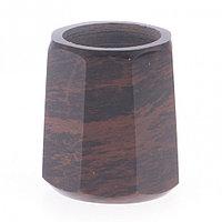 Подсвечник из обсидиана со свечой 6х6х6,5 см