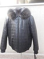Зимняя мужская куртка-бомбер на резинке, с норковым воротником
