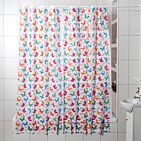 Штора для ванной комнаты «Бабочки», 180×180 см, полиэтилен