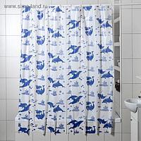 Штора для ванной комнаты «Дельфины», 180×180 см, полиэтилен, цвет белый